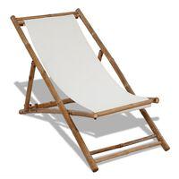 vidaXL Vrtna stolica bambus i platno