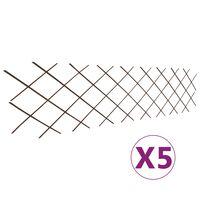 vidaXL Rešetkaste ograde od vrbe 5 kom 180 x 60 cm