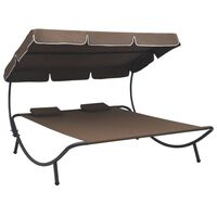 vidaXL Outdoor Lounge Bed with Canopy and Pillows Brown