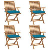 vidaXL Sklopive vrtne stolice s jastucima 4 kom od masivne tikovine