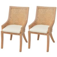 vidaXL Blagovaonske stolice 2 kom od ratana i masivnog drva manga