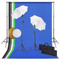 vidaXL Fotografska oprema: svjetla, kišobrani, pozadina i reflektor