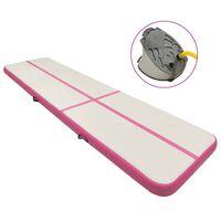 vidaXL Strunjača na napuhavanje s crpkom 600 x 100 x 15 cm PVC roza