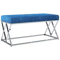 vidaXL Klupa od plave baršunaste tkanine i nehrđajućeg čelika 97 cm