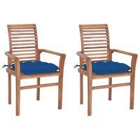 vidaXL Blagovaonske stolice s plavim jastucima 2 kom masivna tikovina
