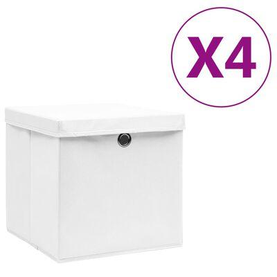 vidaXL Kutije za pohranu s poklopcima 10 kom 28 x 28 x 28 cm bijele