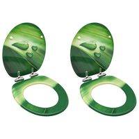 vidaXL Toaletne daske s poklopcem 2 kom MDF zelene s uzorkom kapi vode