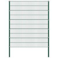 vidaXL Panel za ogradu sa stupovima željezni 1,7 m zeleni