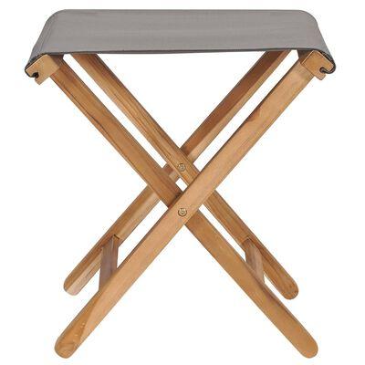 vidaXL Sklopive stolice 2 kom od masivne tikovine i tkanine tamnosive
