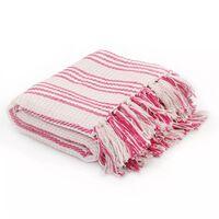 vidaXL Pamučni pokrivač na pruge 220x250 cm ružičasto bijeli