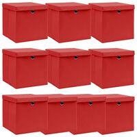 vidaXL Kutije za pohranu s poklopcima 10 kom crvene 32x32x32 cm tkanina