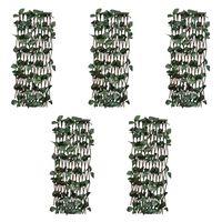 vidaXL Rešetkaste ograde od vrbe 5 kom s umjetnim lišćem 180 x 120 cm