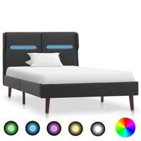 vidaXL Okvir za krevet od tkanine s LED svjetlom tamnosivi 100x200 cm