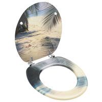 vidaXL Toaletna daska s poklopcem MDF s uzorkom plaže