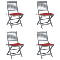 vidaXL Folding Outdoor Chairs 4 pcs with Cushions Solid Acacia Wood (46336+47593)