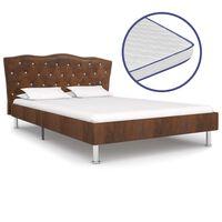 vidaXL Krevet od tkanine s memorijskim madracem smeđi 120 x 200 cm