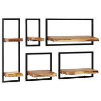 vidaXL Set zidnih polica 5 komada od masivnog drva akacije i čelika