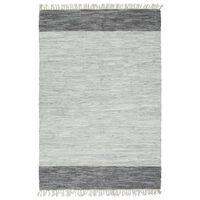 vidaXL Ručno tkani tepih Chindi od kože 120 x 170 cm sivi