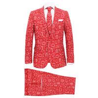 vidaXL 2-dijelno muško božićno odijelo s kravatom veličina 48 crveno