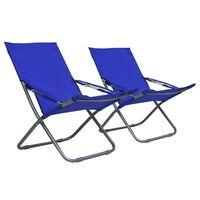 vidaXL Sklopive stolice za plažu od tkanine 2 kom plave