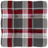 vidaXL Jastuk za sofu od paleta crveni karirani 50 x 50 x 12 cm