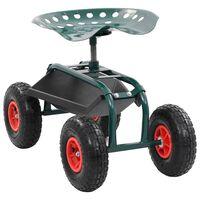 vidaXL Vrtna kolica s kotačima i ladicom za alat zelena 78x44,5x84 cm