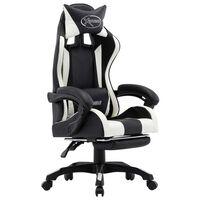 vidaXL Igraća stolica od umjetne kože s osloncem za noge bijelo-crna