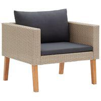 vidaXL Vrtna fotelja od poliratana s jastucima bež