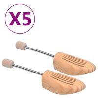 vidaXL Napinjači za cipele 5 pari veličina 44 - 45 od masivne borovine