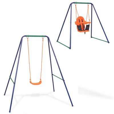 vidaXL 2-u-1 obična ljuljačka i ljuljačka za malu djecu narančasta