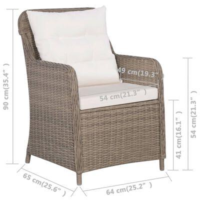 vidaXL Vrtne stolice od poliratana s jastucima 2 kom smeđe