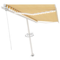 vidaXL Manual Retractable Awning with LED 400x350 cm Yellow and White (313205+313177+315091)