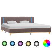vidaXL Okvir za krevet od tkanine s LED svjetlom smeđe-sivi 160x200 cm