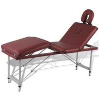 Sklopivi masažni stol s drvenim okvirom, 4 zone, crveni