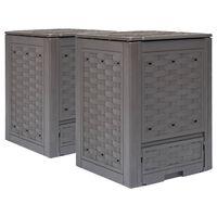 vidaXL Vrtni komposteri 2 kom smeđi 60 x 60 x 83 cm 600 L