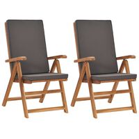 vidaXL Nagibne vrtne stolice s jastucima 2 kom masivna tikovina sive