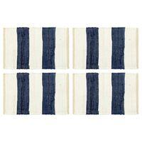 vidaXL Podmetači za stol 4 kom chindi prugasti plavo-bijeli 30 x 45 cm