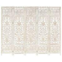 vidaXL Sobna pregrada s 5 panela bijela 200x165 cm masivno drvo manga