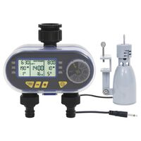 vidaXL Digitalni tajmer za vodu s dva ispusta i senzorom za kišu