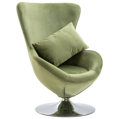vidaXL Okretna jajolika stolica s jastukom svjetlozelena baršunasta