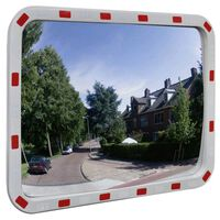 Konveksno pravokutno prometno ogledalo 60 x 80 cm s reflektorima