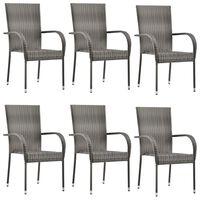 vidaXL Složive vrtne stolice od poliratana 6 kom sive