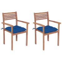 vidaXL Vrtne stolice s plavim jastucima 2 kom od masivne tikovine