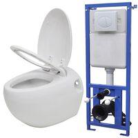 vidaXL Zidna jajolika toaletna školjka s ugradbenim vodokotlićem bijela