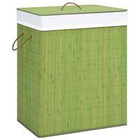 vidaXL Košara za rublje od bambusa zelena 100 L
