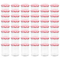 vidaXL Staklenke za džem s bijelo-crvenim poklopcima 48 kom 400 ml