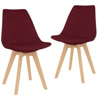 vidaXL Blagovaonske stolice od tkanine 2 kom crvena boja vina