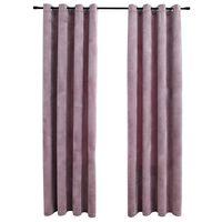 vidaXL Zavjese za zamračivanje 2 kom baršunaste ružičaste 140 x 175 cm
