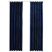 vidaXL Zavjese za zamračivanje 2 kom baršunaste tamnoplave 140x225 cm