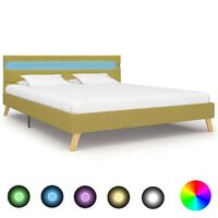 vidaXL Okvir za krevet od tkanine s LED svjetlom zeleni 120 x 200 cm